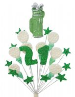 Golf 21st birthday cake topper decoration in green and white - free postage